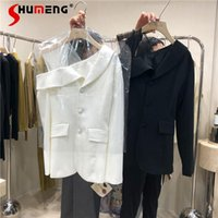 Women's Suits & Blazers 2021 Autumn Korean Style Gauze Stitching Single-Breasted Suit Fashion Simple Off-Shoulder Slimming White