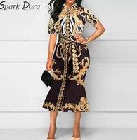 Sparkdora أوروبا أمريكا الربيع الصيف الجديدة المرأة خمر حقيبة الأزياء مزاجه طباعة مربوط اللباس الورك S-3XL