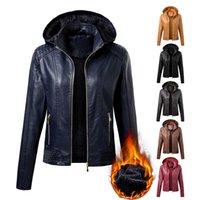 Autunno inverno Giacca da donna in pelle PU Coat Donne Fashion Colletto con cappuccio Velluto Tenere caldo S-XL