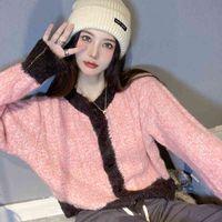 Dames Sweaters Short-Colored Vrouwelijke Trui Contrast Naad Niche Design Mesh Cardigan Jas Herfst Soft Top Wax SGFQ