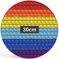 30cm Pop Fidget Toys Huge Large Popit Rainbow Giant Biggest Jumbo Push Bubbles Stress Reliever Squeeze Sensory Toy for Kids Teen Adults, Big Round