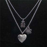 Chokers Stainless Steel Chain Vintage Punk Rock Flower Bear Heart Pendant Necklace Gothic Fairy Grunge Accessories Aesthetic Y2k Jewelry