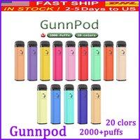 GunnPod 일회용 전자 담배 장치 Kite 최대 2000 퍼프 1250mAh 배터리 프리 쿼리 8ml 포드 스틱 vape 펜 바 vs 바 플러스 에어 바 최대