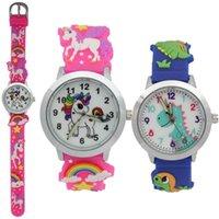 50pcs enfants enfants filles étudiants arc-en-ciel montres montres Dinosaure Silicone Jelly Candy Mode 3D Garçons Garçons Imprimer la fête d'anniversaire Horloge cadeau