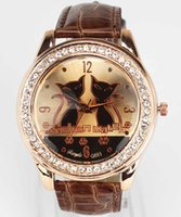 Designer Luxury Brand Watches Womens Fashion Trendy Two Cat Face Dial Gold Case Crystal Leather Band Quartz Analog Wrist