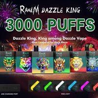 Original RandM DAZZLE KING Disposable Device Kit 1100mAh Battery Prefilled 8ml Pods 3000 Puffs Vape Stick Pen Colorful LGB Led Light Bar Plus Hot 100% Authentic