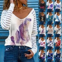 Women's Blouses & Shirts Ladies Ink Painting Feather Printing Bottoming Shirt Loose Casual Round Neck Long Sleeve Plus Size T-shirt