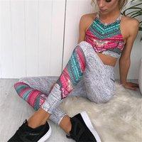 Tracksuit per donna 2 pezzi yoga set floreale stampa donna reggiseno da donna + pantaloni lunghi sportivi per le donne fitness sport vestito sportivo S-L