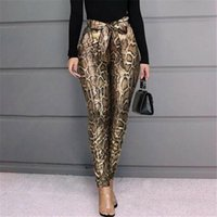 Women's Pants & Capris Fashion Snakeskin Print Leggings PU Leather Stretchy Skinny Pencil Trousers Belt High Waisted
