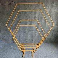 Prórminos de boda Arco hexagonal Boda Diamante Perfugado Arco de hierro Estante Partido Decoración Fondo Líder Líder Artificial Soporte Floral Oro