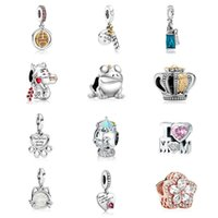 Fit Pandora Charm Bracelet European Silver Charms Beads Crystal Frog Crown Mom Paw Prints My Best Friend Dangle DIY Snake Chain For Women Bangle Necklace Jewelry