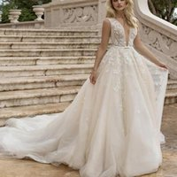 Other Wedding Dresses 2021 Gergeous Sweep Train Deep V Neck Shinny Lace Appliques Backless Bohemian Bridal Gowns Plus Size