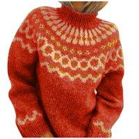 Mulheres Turtelneck Sweater Solta Impressão Breve Elegante Confortável Mangas Compridas Quentes Tornaras Tops Camisolas das Mulheres