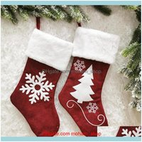 Decorations Festive Supplies & Gardenchristmas Stockings Christmas Tree Snowflake Print Candy Gift Bag Ornament Party Home Decoration1 Drop