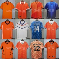 1988 Holanda Retro Van Basten Gullit Rijkaard Mens Futebol Jerseys 1998 Países Baixos Bergkamp Camisas de futebol 1995 1991 2012 Sneijder Clássico Uniforme