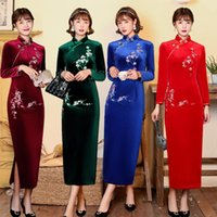 Ethnic Clothing Autunm Winter Embroidery Velour Women Qipao Chinese Traditional Elegant Party Dress Lady Long Fork Cheongsam Plus Size 4XL