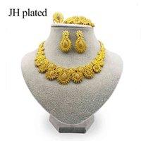 مجموعات المجوهرات Jhplated رائعة مجموعات دبي الفاخرة من الذهب اللون الهند نيجيريا إكسسوارات إكسسوارات كبيرة بالجملة
