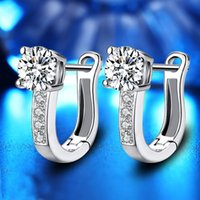 Personality U Shape Stud 925 Silver Earrings With Cubic Zirconia Small Cute Dangle Earring For Women Girl Gifts EH040