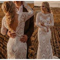 Modest Lace Boho Wedding Dress For Women 2021 robe de mariée Mermaid Bohemian Gowns Long Sleeve Sheer Bridal Dresses