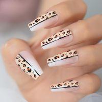 False Nails Glossy Leopard Pattern Ombre Розовый Обнаженная Белая Французская Балерина Гроб Пресс на Градиент Ногтей Натуральный балет Поддельные наконечники