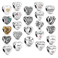 فقط بانجيا 925 الفضة الاسترليني العصرية على شكل قلب حبات diy مناسبة لسوار وقلادة