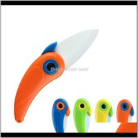 Knives Aessories Kitchen, Dining Bar Home & Garden Drop Delivery 2021 Parrot Pocket Folding Bird Fruit Paring Knife Ceramic With Colourful Ab