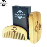 MOQ 100 Set OEM Personalizza logo Eco-friendly Bamboo Facial Hail / Beard Pettine Brush Set Kit Grooming Kit con scatola personalizzata per l'uomo barbe