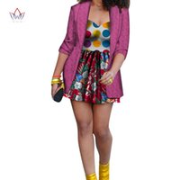 BintaRealWax African Dresses For Women Dashiki Jacket & Mini Dress Suits Cotton Print Plus Size Traditional Clothing WY7976 Ethnic