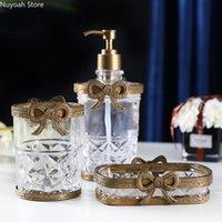 Retro vidrio de latón baño suministros loción botella jabón plato de almacenamiento taza artesanía decoración de lujo accesorios baño accesorio conjunto