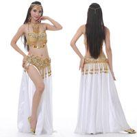 2021 Nuova Performance Dancewear Bellydance Vestiti Abito Outfit C / D Coppa Spalato Gonna Professionale Donne Professionale Costume da ballo egiziano Set