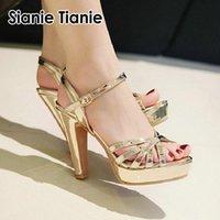 Sianie Tianie 2021 Cuir de brevet Argent Or Pink Peep Toe Fête De Mariage Femme Chaussures Femmes Gladiateur Sandales Open Talons