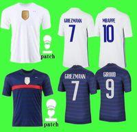 França Home Soccer Jersey 21-29 MBAPPE Griezmann Kante Pogba Maillots De Futebol Maillot Equipe Francês Tamanho S-4XL