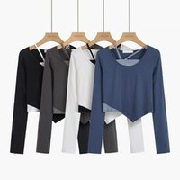 Women's T-Shirt Y2K Long Sleeve Blue Black Sling Women Crop Top T Shirts Fashion Korean Goth Streetwear Harajuku Aesthetic Vest Tshirts Clot
