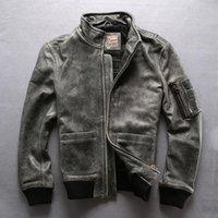 Мужская кожаная искусственная серая Avirexfly Подлинная коровка мотоцикл мужская повседневная винтажная куртка воловья