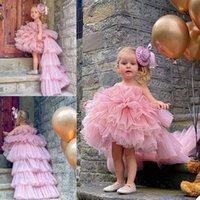 2021 Photoshoot Flower Girls' Dresses Sexy Hi-Lo Little Girls Ruffled Tulle Long Skirts Formal Wear Kids Birthday Party Dress