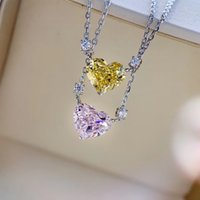 Heart Necklace imported Love Pink Diamond Sterling Silver Plated 18K clavicle chain Seiko goose yellow diamond Luxurys Designers jewelry