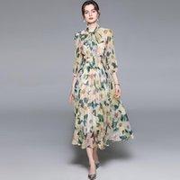 Merchall 2021 Yaz Moda Pisti Tatil Şifon Elbise Kadın Yay Yaka Çiçek Baskı Tatil Partisi Zarif Midi Günlük Elbiseler