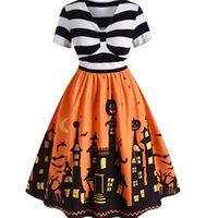 2019 V-neck stripe contrast mosaic HALLOWEEN PRINT short sleeve swing dress