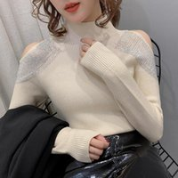 Autumn And Winter Knitted Slim Off Shoulder Half High Collar Pullovers Bottomed Sweaters Women Tops Fashion Streetwear 2021 Women's