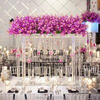 Partijdecoratie 28 Inches Lange Bruiloft Crystal CenterPieces Clear Flower Kroonluchters Acryl Stand Tafel Centrum Decor
