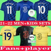 Ziyech CFC 축구 유니폼 팬 플레이어 버전 Pulisic Mount Kante Havertz Werner Abraham Chilwell Giroud Hudson-Odoi 2021 2022 축구 셔츠 22 22 Men + Kids Kit