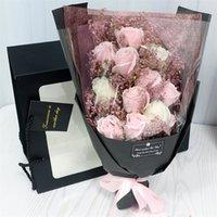 Hvayi 18pcs artificiale mariage sapone rose fiori bouquet flores pianta compleanno natale nozze san valentino giorno regalo decorazioni home decor 210317