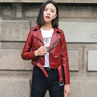 Autumn Short Faux Soft Leather Jacket With Belt Women Moto Zipper Pu Basic Jackets Black Yellow Pink Coat Women's &