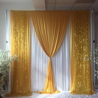 Wedding Background Centerpieces Favor 3MX3M 10FTX10FT Backdrop Curtain With Gold Sequin Swag Drapes Party Event Decoration Props