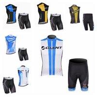 Gigante equipe de verão homens ciclismo à prova de poeira sem mangas jersey colete shorts conjuntos roupas sportswear qualidade superior h70801