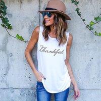 Frauen dankbar Buchstaben Tanktops Lange ärmellose T-Shirts Solide beiläufige lose T-Shirts Top-Westen