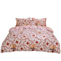 الفراش مجموعات الوردي القطن السرير مجموعة أغطية الفاخرة التوأم كامل الملكة الملك حاف غطاء السرير ورقة المخدة الكبار