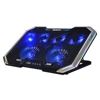 Laptop Cooling Stand Cooler Gamer Pad RGB LED Adjustable 1400RPM Desk Fan Pads