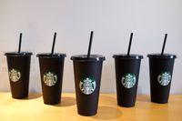 Starbucks 24oz / 710 ملليلتر بلاستيكية بلاستيكية قابلة لإعادة الاستخدام الأسود شرب مسطحة أسفل كأس عمود شكل غطاء القش القدح