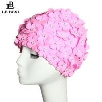 Trisass 2021 Tweekleurige 3D Bloem Zwemkap Floral Little Caps Pool Badmode Dames Meisjes Strand One Size